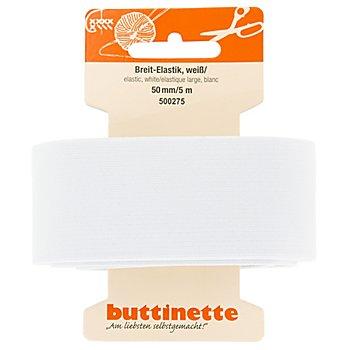 buttinette Gummiband 'Breit-Elastik', weiss, Breite: 50 mm, Länge: 5 m