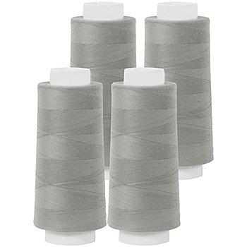 buttinette Set éco de fil pour surjeteuse, gris pierre, 4 bobines, grosseur : 120, 2500 m