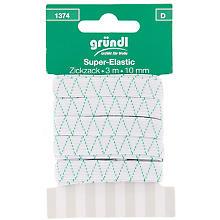 Ruban élastique 'zigzag', blanc, largeur : 10 mm, longueur : 3 m