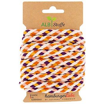 Albstoffe Bio-Kordel / Rundkordel 'Twist Me Big', lila/senf/koralle/orange/creme, 3 m