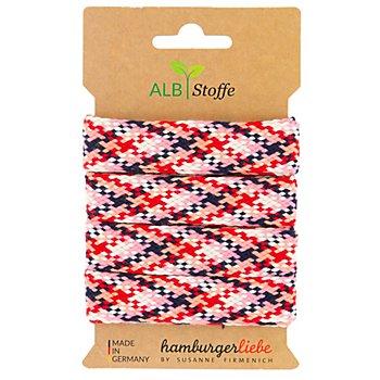 Albstoffe Bio-Flechtkordel / Flachkordel 'Twist Me Check', rot/rosa/creme/marine, 3 m