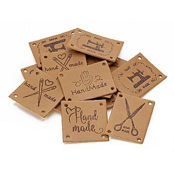 buttinette Label-Set 'handmade Nähen' in Lederoptik, Inhalt: 15 Stück