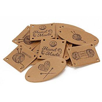 buttinette Label-Set 'handmade Stricken' in Lederoptik, Inhalt: 15 Stück