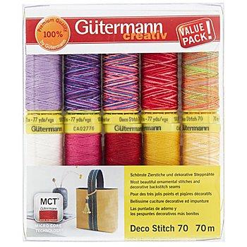 Gütermann Set de fils à coudre 'Deco Stitch 70', jaune/rouge/rose vif, 10x 70 m