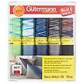 """Gütermann Set de fils à coudre """"Deco Stitch 70"""", vert/bleu/gris, 10x 70 m"""