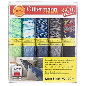 Gütermann Nähfaden-Set 'Deco Stitch 70', grün/blau/grau, 10x 70 m