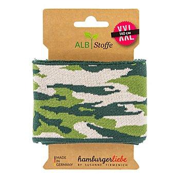 Albstoffe Bio-Strickbündchen 'Cuff Me Camouflage', grün/creme, 1,4 m