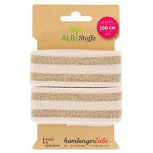 Albstoffe Bio-Band 'Stripe Me Glam' mit Glitzer, creme/gold, 2 m