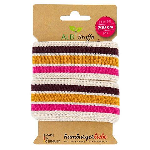 "Image of Albstoffe Bio-Band ""Stripe Me"", natur/pink/ocker/aubergine, 2 m"