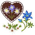 """buttinette Applikationen """"Bergblumen"""", Grösse: 4,5–6 cm, 3 Stück"""