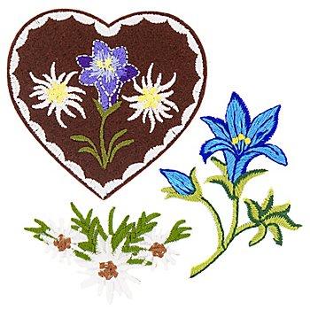 buttinette Applikationen 'Bergblumen', Grösse: 4,5–6 cm, 3 Stück