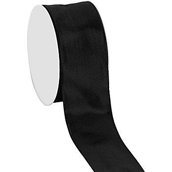 Stoffband mit Drahtkante, schwarz, 40 mm, 10 m