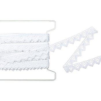 Galon de dentelle aux fuseaux, blanc, largeur : 2 cm, longueur : 10 m