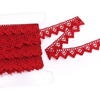Galon de dentelle aux fuseaux, rouge, largeur : 2 cm, longueur : 10 m
