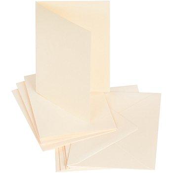 Set cartes doubles et enveloppes, crème, 50 pièces