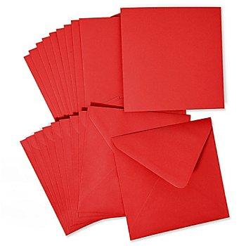 Doppelkarten & Hüllen, rot, quadratisch, je 10 Stück