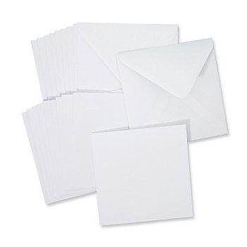 Doppelkarten & Hüllen, weiss, quadratisch, je 10 Stück