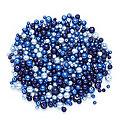 Perles nacrées en verre, tons bleus, 4 - 8 mm Ø, 100 g