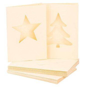 Passepartoutkarten 'Stern & Tanne', creme, A6 / C6, je 10 Stück