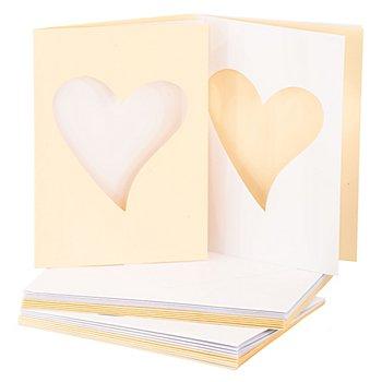 Passepartoutkarten 'Herz', creme-weiss, A6 / C6, je 10 Stück