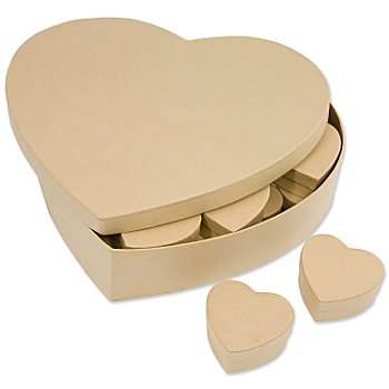 Pappschachtel-Set 'Herzen', 25 Stück