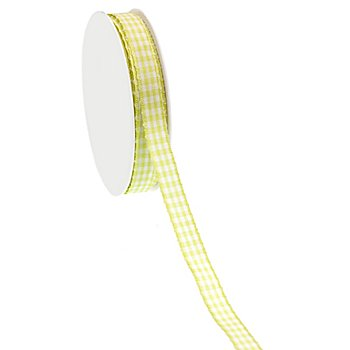 Stoff-Karoband, hellgrün, 10 mm, 10 m