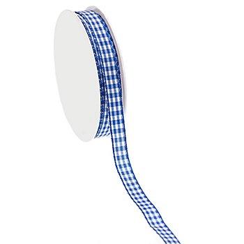 Stoff-Karoband, blau, 10 mm, 10 m