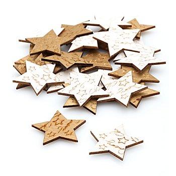 Streuteile 'Sterne', gold-creme, 3,5 cm, 24 Stück