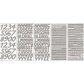 Set de stickers 'lettres et chiffres', argenté, 23 x 10 cm, 5 feuilles