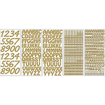 Set de stickers 'lettres et chiffres', doré, 23 x 10 cm, 5 feuilles