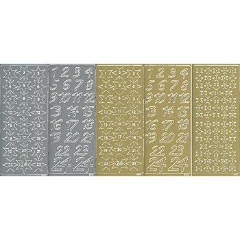 Set stickers 'chiffres pour calendrier de l'Avent', 23 x 10 cm, 5 feuilles