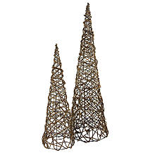 Set de pyramides en sarment de vigne, 50 cm et 70 cm, 2 pièces