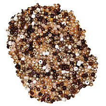 Perles de rocaille, tons marron, 2,5 mm Ø, 100 g
