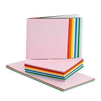 Quadratisches Doppelkartenset, bunt, je 50 Stück