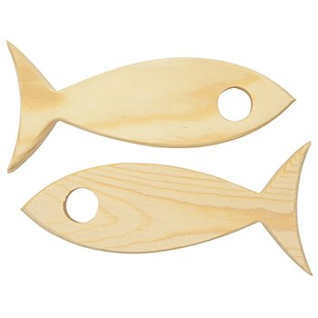 Porte vases éprouvettes 'poisson' en bois, 17 x 5 x 2 cm, 2 pièces