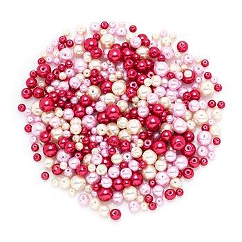 Perles nacrées en verre, tons rouges, 4 - 8 mm Ø, 100 g