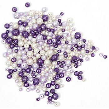 Perles nacrées en verre, tons lilas, 4 - 8 mm Ø, 100 g