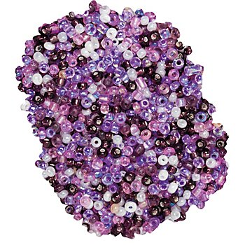 Perles de rocaille,violet/lilas/crème, 2,5 mm Ø, 100 g