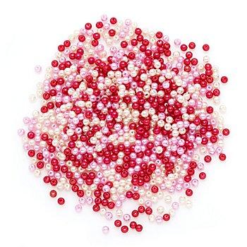 Perles nacrées en acrylique, rose/crème/rouge, 4 mm Ø, 25 g