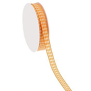 Stoff-Karoband, orange, 10 mm, 10 m