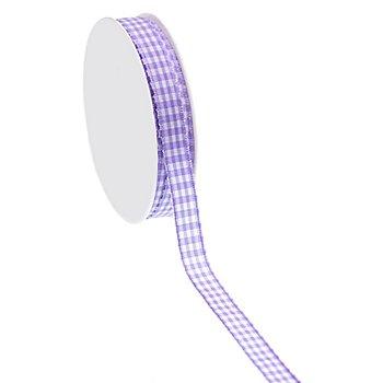 Ruban 'motif vichy', violet, 10 mm, 10 m