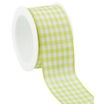 Stoff-Karoband, hellgrün, 40 mm, 5 m