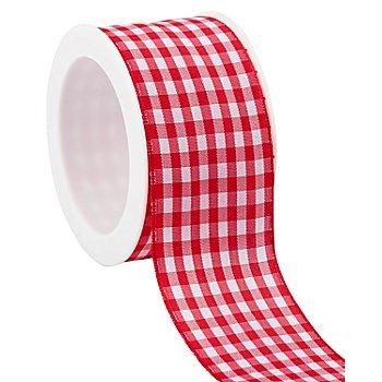 Ruban vichy laitonné, rouge/blanc, 40 mm, 5 m
