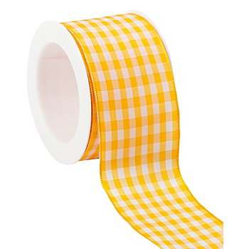 Ruban vichy laitonné, jaune/blanc, 40 mm, 5 m