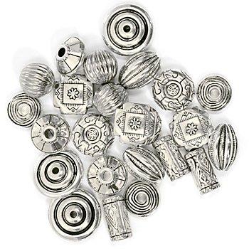 Silberimitat-Perlen-Mix 'Antiksilber', 15 - 20 mm, 24 Stück
