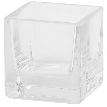 Photophore en verre, carré, 7 x 7 x 7 cm