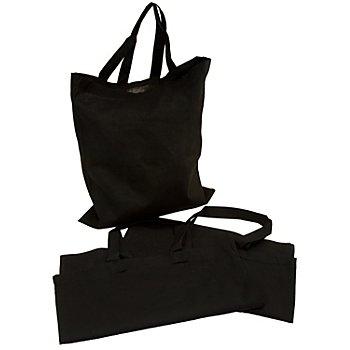 Tote bag, noir, 36 x 40 cm, 3 pièces