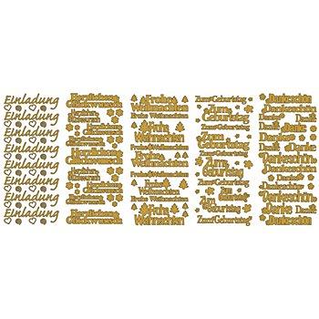 Klebesticker 'Schriften groß', gold, 23 x 10 cm, 5 Bogen