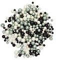 Glaswachsperlen, schwarz-grau-weiss, 4 - 8 mm Ø, 100 g