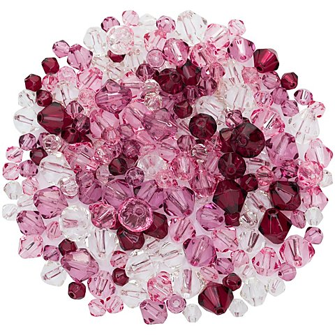 Image of Facettierte Glasperlen, lila-rosa-transparent, 4&ndash_8 mm Ø, 50 g